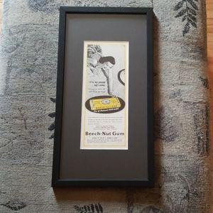 Vintage Beech-Nut Gum framed ad!